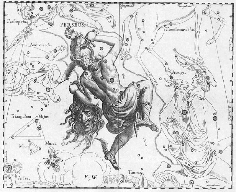 Изображение на съзвездие Персей и Алгол от атласа на Ян Хевелий. Рublic domain