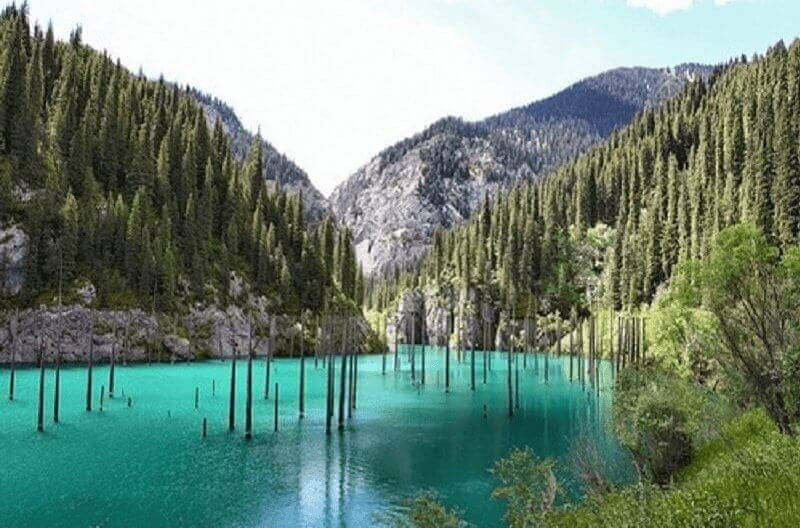Езерото Каинди в Казахстан