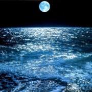 нощ, океан, море, луна, пълнолуние
