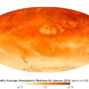 Средното съдържание на метан в атмосферата през януари 2016 г. © NASA