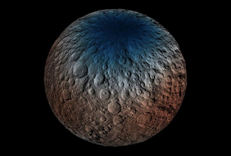 Карта на съдържанието на неутрони на северния полюс на Церера.  NASA/JPL-Caltech/UCLA/MPS/DLR/IDA/PSI