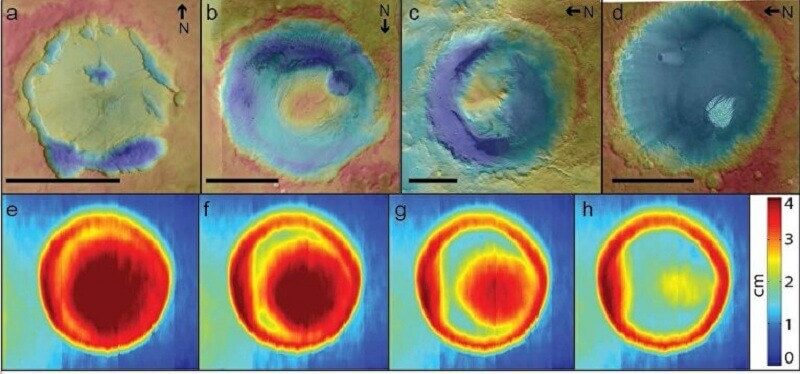 Отгоре - кратери на Марс. Отдолу - резултатите от експеримента в аеродинамичната тръба.   © Mackenzie Day