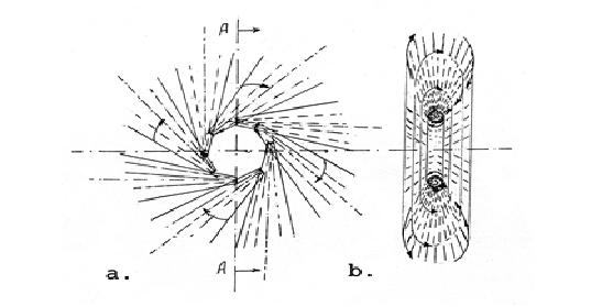 Схематично изображение на електрон. а/ Схема на разположението на кръговата вълна; в/ Напречен разрез. Стрелките показват посоката на магнитното завъртане при пулсацията на силовия заряд.