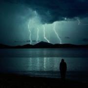 силует, сянка, буря, бряг