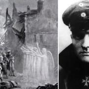Съществува легенда, според която Червения барон (вдясно) свалил неидентифициран летящ обект, а легион от божествени воини се притекъл на британските войници по време на сражение с немците.