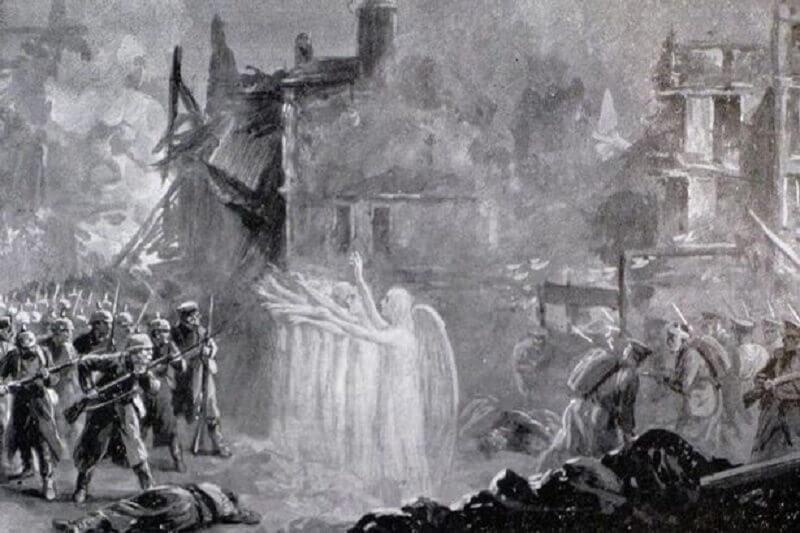 Появата на ангели, уж спасили от смърт френските и британските войници по време на битката при Монс (Белгия) в Първата световна война.
