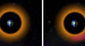 Протоните в период на спокойствие (вляво) и при геомагнитна буря (вдясно). ©  Johns Hopkins APL