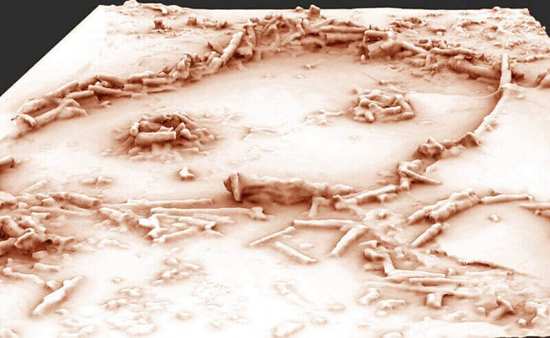 Триизмерен модел на неандерталското съоръжение от Брюникел. © Xavier MUTH - Get in Situ, Archéotransfert, Archéovision -SHS-3D, base photographique Pascal Mora