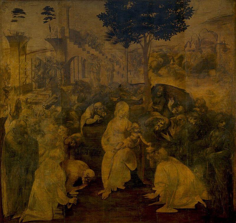 Поклонението на Влъхвите, Леонардо да Винчи. (Public Domain)