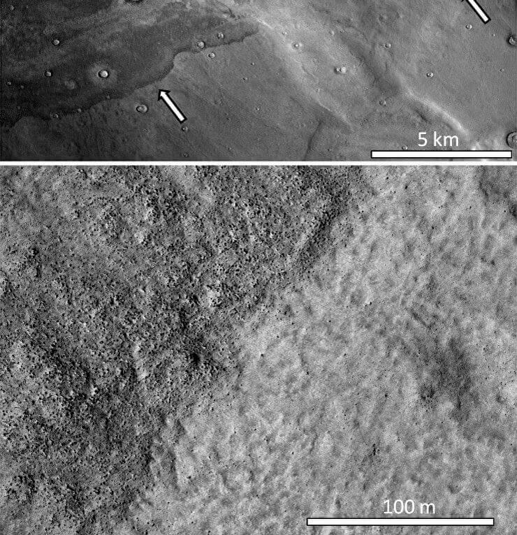 Карта от бреговата линия на океана на Марс и наносите, свързани с цунами. © Alexis Rodriguez