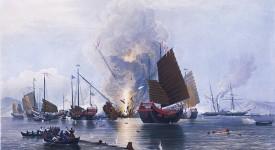 Британският кораб Немезис по време на втората битка при Чуанби на 7 януари 1841 г. © Edward Duncan