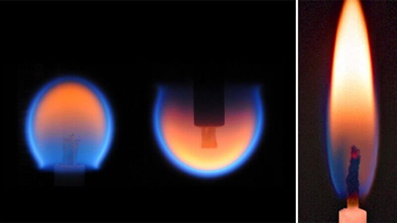 Горене на свещ в Космоса и на Земята. © NASA
