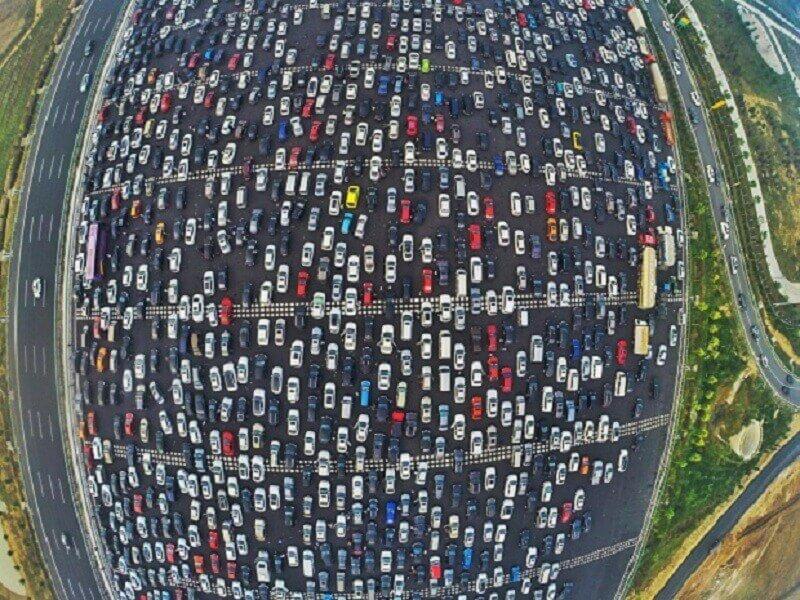 автомобилно задръстване Китаай