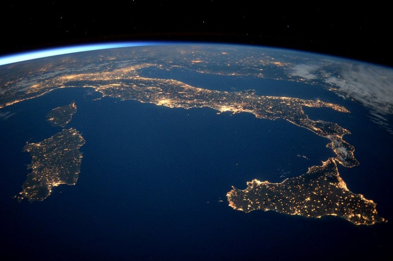 """ESA astronaut Tim Peake took this image from the International Space Station during his six-month Principia mission. He commented: """"We have phases of 'short nights' on the International Space Station â sunlight is nearly always visible right now. Noprizes for guessing where this isâ¦""""Professional photographer Max Alexander has known Tim Peake from before his launch into space and gave Tim photography tips during his mission. Max comments: """"Italy is bathed in twilight in this emblematic photograph, with artificial light balanced out by the remnants of the day. Shot at the end of May, the International Space Station was orbiting with short nights at this time, and with sunlight never far away â as you can see on the curve of the Earth."""""""