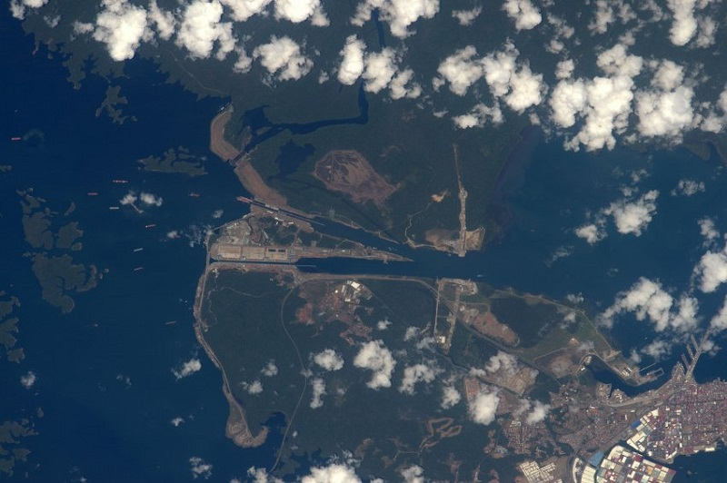 """ESA astronaut Tim Peake took this image from the International Space Station during his six-month Principia mission. He commented: """"From one mighty ocean to another â ships passing through the Panama canal.""""Professional photographer Max Alexander has known Tim Peake from before his launch into space and gave Tim photography tips during his mission. Max comments: """"I really like the way Tim has used the clouds to frame the Panama Canal â giving a sense of the division between North and South America, and the passageway between the Atlantic and Pacific Oceans. Also the use of scale â once you see that those are ships lined up down there, the picture really comes together, and shows you how the Panama Canal works."""""""