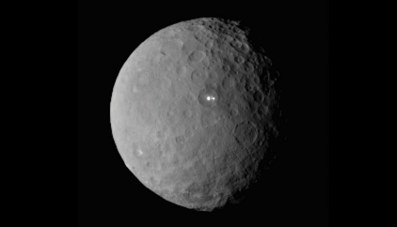 The dwarf planet Ceres taken by NASA's Dawn spacecraft on February 19, 2015 from a distance of nearly 29,000 miles is shown in this handout photo provided by NASA March 2, 2015.  It shows that the brightest spot on Ceres has a dimmer companion, which apparently lies in the same basin according to NASA.    REUTERS/NASA/Handout via Reuters  (OUTERSPACE - Tags: SCIENCE TECHNOLOGY)ATTENTION EDITORS - FOR EDITORIAL USE ONLY. NOT FOR SALE FOR MARKETING OR ADVERTISING CAMPAIGNS. THIS PICTURE WAS PROVIDED BY A THIRD PARTY. REUTERS IS UNABLE TO INDEPENDENTLY VERIFY THE AUTHENTICITY, CONTENT, LOCATION OR DATE OF THIS IMAGE. THIS PICTURE IS DISTRIBUTED EXACTLY AS RECEIVED BY REUTERS, AS A SERVICE TO CLIENTS