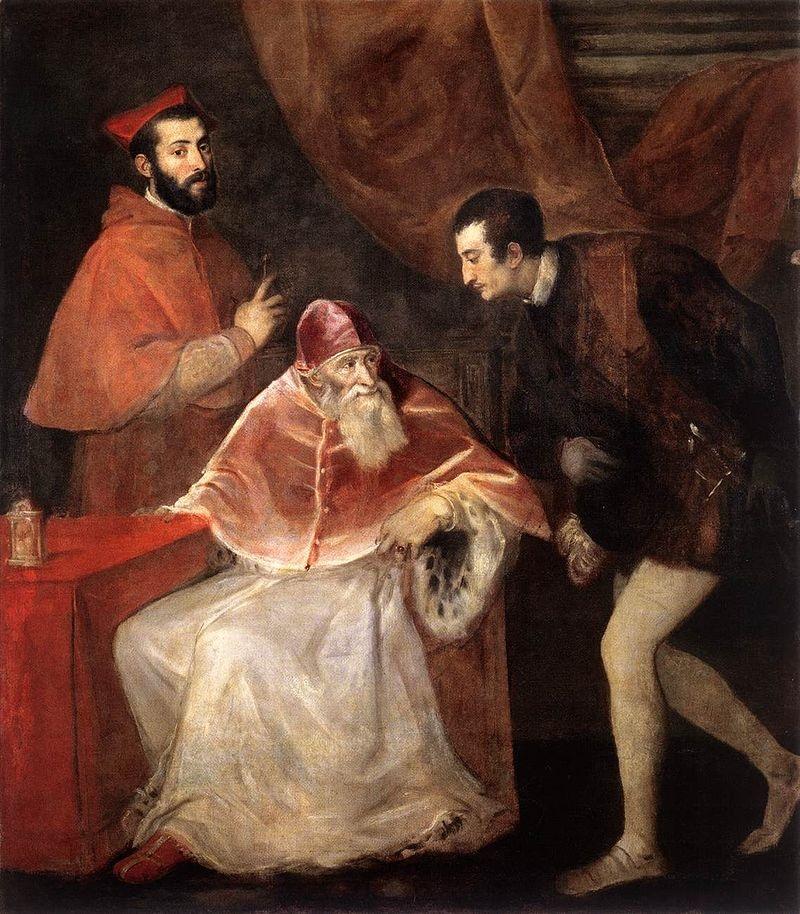 """Тициан, """"Папа Павел III и неговите внуци"""""""