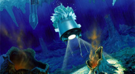 Художествена илюстрация: криоботи и хидроботи в океана на луната Европа