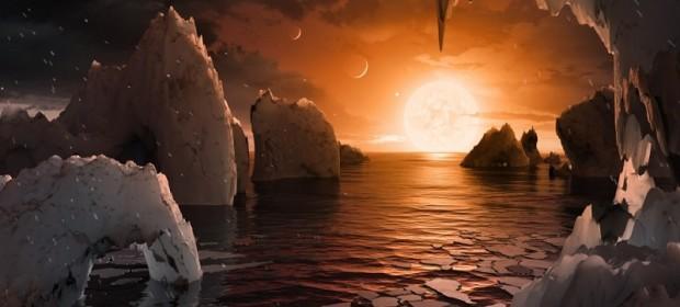 Артистична илюстрация на повърхността на планета от системата TRAPPIST-1