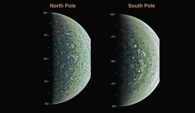 Кадри на Юпитер, заснети от Джуно