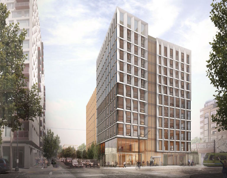 Компютърна графика на проекта за дървен небостъргач в Портланд