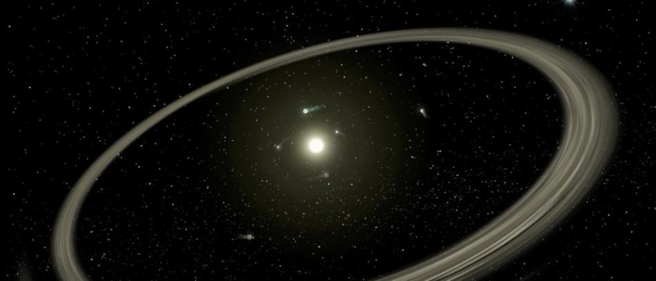 Диска и планетите около Тау Сети. Снимка НАСА.