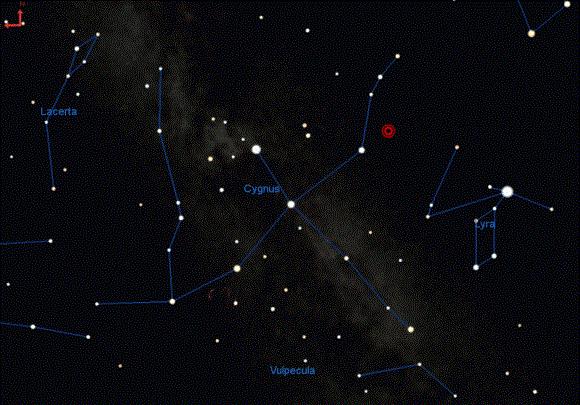 Съзвездието Лебед - червеният кръг е KIC 9832227