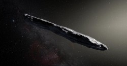 Художествена импресия на междузвездния астероид Oumuamua. Снимка: European Southern Observatory