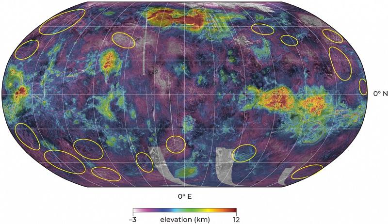 Карта на повърхността на Венера, която визуализира местата, на които учените смятат, че има движение на плочите.