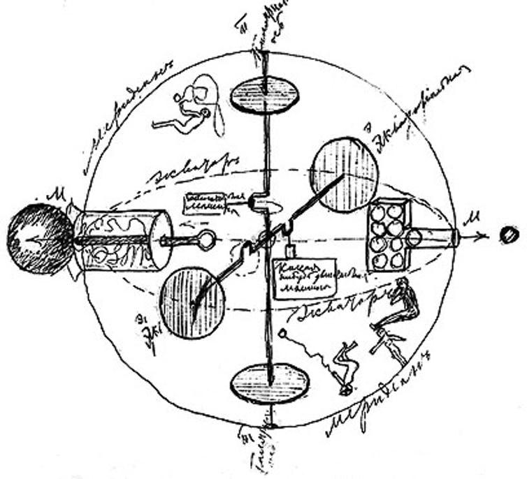 Идеята на Циолковски за космически кораб от 1883 г (Wikimedia)
