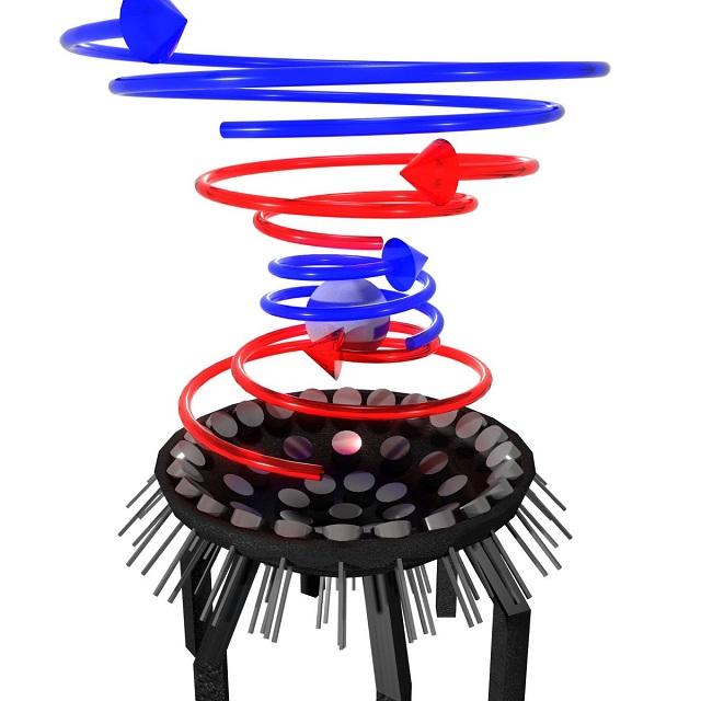 Концепцията за акустичен лъч, левитиращ сферичен обект. Снимка: University of Bristol