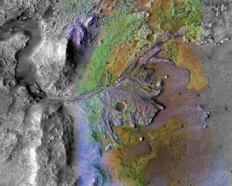Делта на кратера Джезеро - добре запазена делта на древна река на Марс. NASA/JPL-Caltech/MSSS/JHU-APL