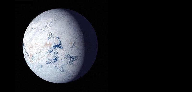 """Артистична визуализация на това, как би изглеждала Земята в състояние """"снежна топка."""" NASA"""