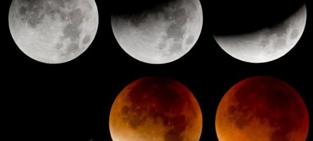 от ляво на дясно: фазите на пълното лунно затъмнение