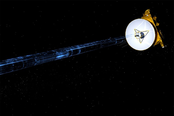 NASA's New Horizons spacecraft is seen transmitting data back to Earth in an undated artist's illustration.