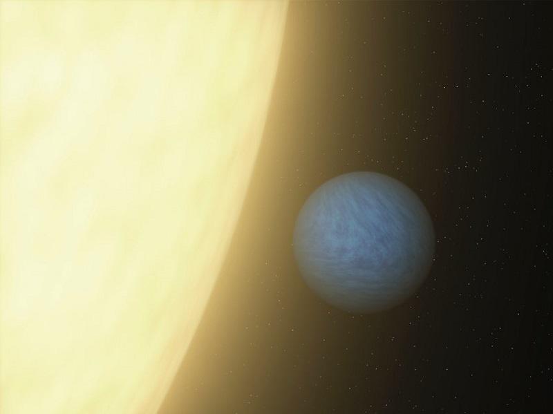 Художествена интерпретация на екзопланетата 55 Канкри. Тя е по-голяма от Земята и има напълно различен химичен състав. Една трета от него е диамант. Планетата е открита със Спицър.