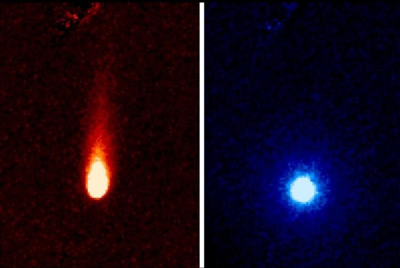 Две снимки на кометата ISON, която беше наблюдавана през 2013 да лети в посока Слънцето. Отляво се вижда впечатляващата й опашка, а отдясно заснетите дължини на вълните са така променени, че опашката не се вижда. Вместо това се вижда атмосфера от газ около кометата.