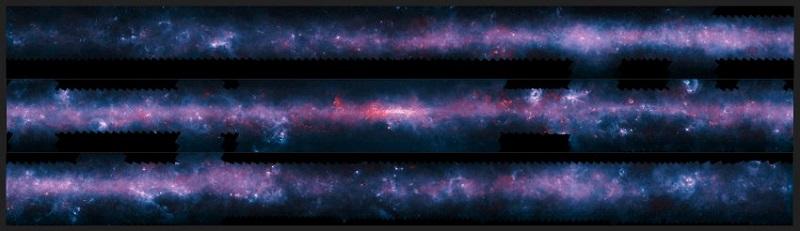 Това атрактивно изображение на Млечния път е резултат от съвместната работа на екипите на много телескопи. Апекс в Чили е свършил картографската работа и показва как изглежда галактиката от южното полукълбо. Телескопите Спицър и Планк също са допринесли. Снимката е публикувана през 2016.