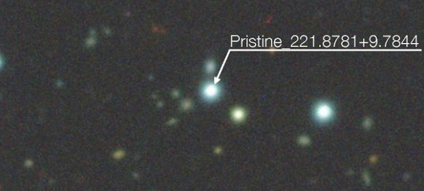 Pristine_221.8781+9.7844 and its surroundings Credits: N. Martin and the Pristine collaboration, DECam Legacy Survey, Aladin Sky Atlas.""