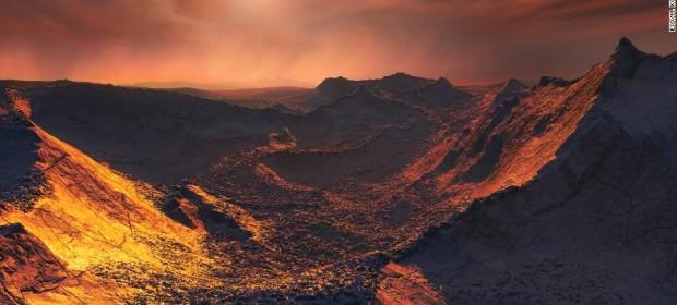 Художествена импресия на повърхността на Звездата на Барнард b