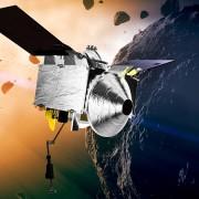 Предоставена от НАСА художествена интерпретация на космическия апарат OSIRIS-REx и астероида Бену.