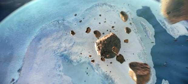 Художествена илюстрация на метеорита, ударил Гренландия. Natural History Museum of Denmark / Cryospheric Sciences Lab / NASA Goddard Space Flight Center / Greenbelt, MD, USA